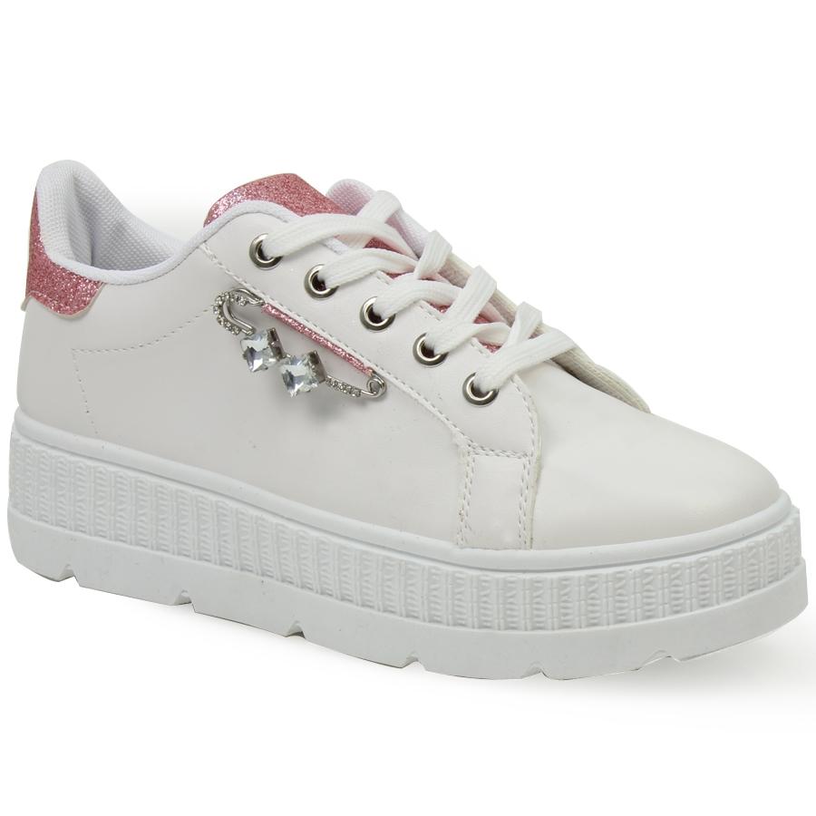 Γυναικεία sneakers με διακοσμητική παραμάνα Λευκό