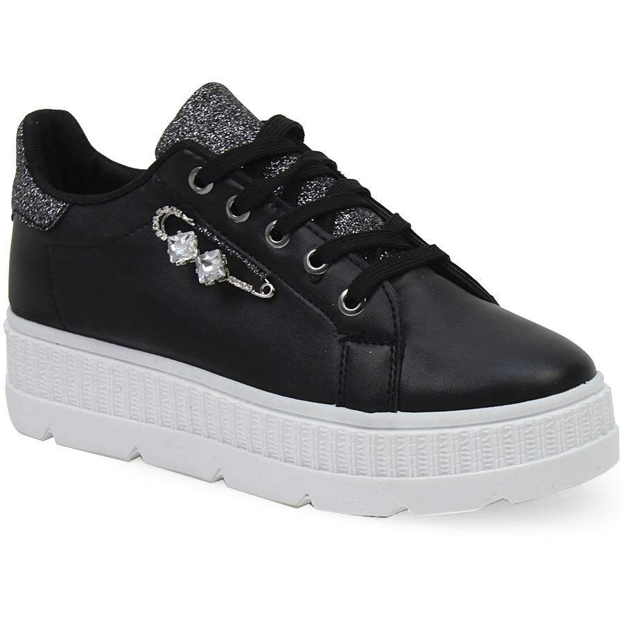 Γυναικεία sneakers με διακοσμητική παραμάνα Μαύρο