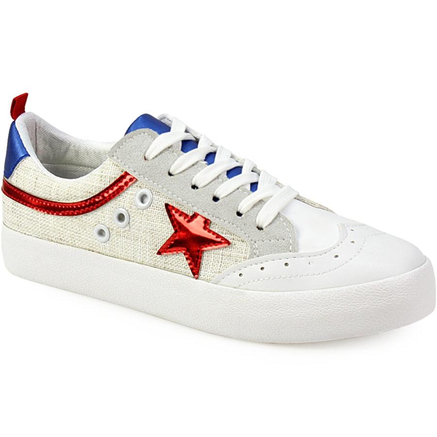 Γυναικεία sneakers δίψιδα με αστέρια Κόκκινο