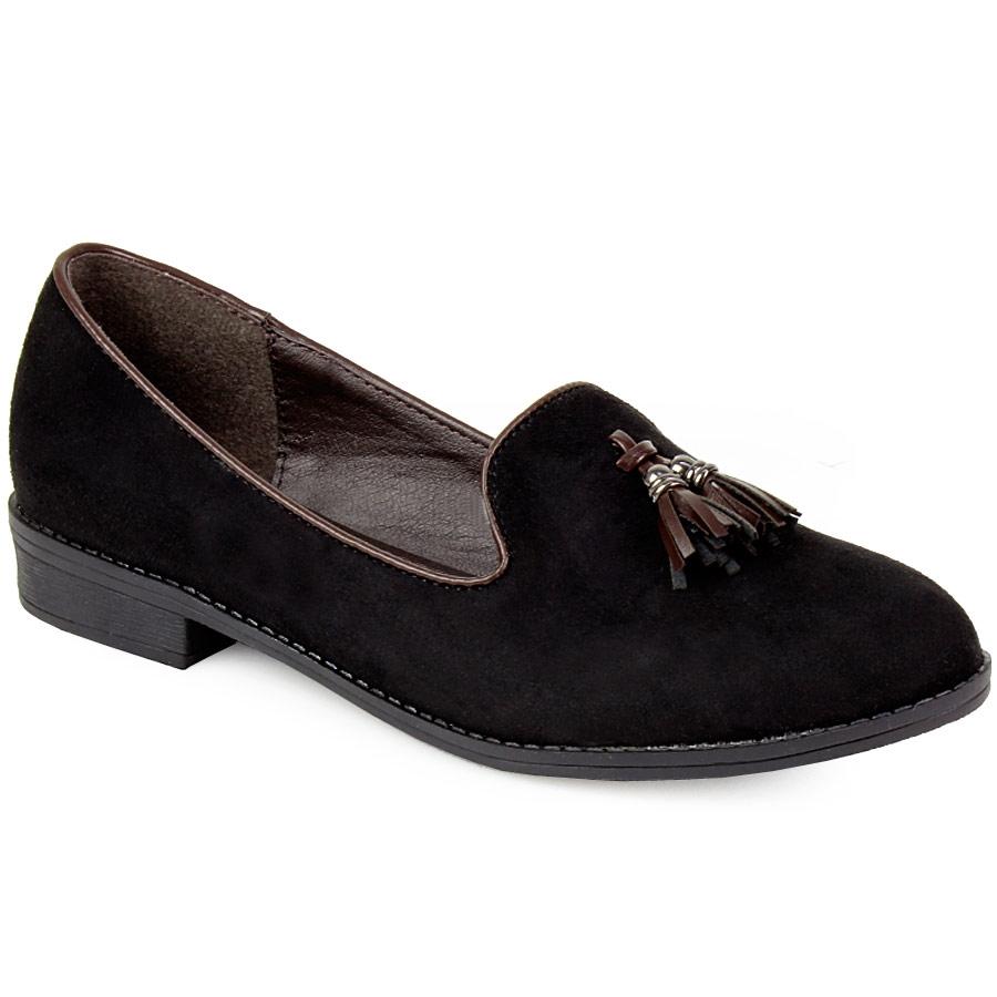 Γυναικεία loafers με κροσσάκια Μαύρο