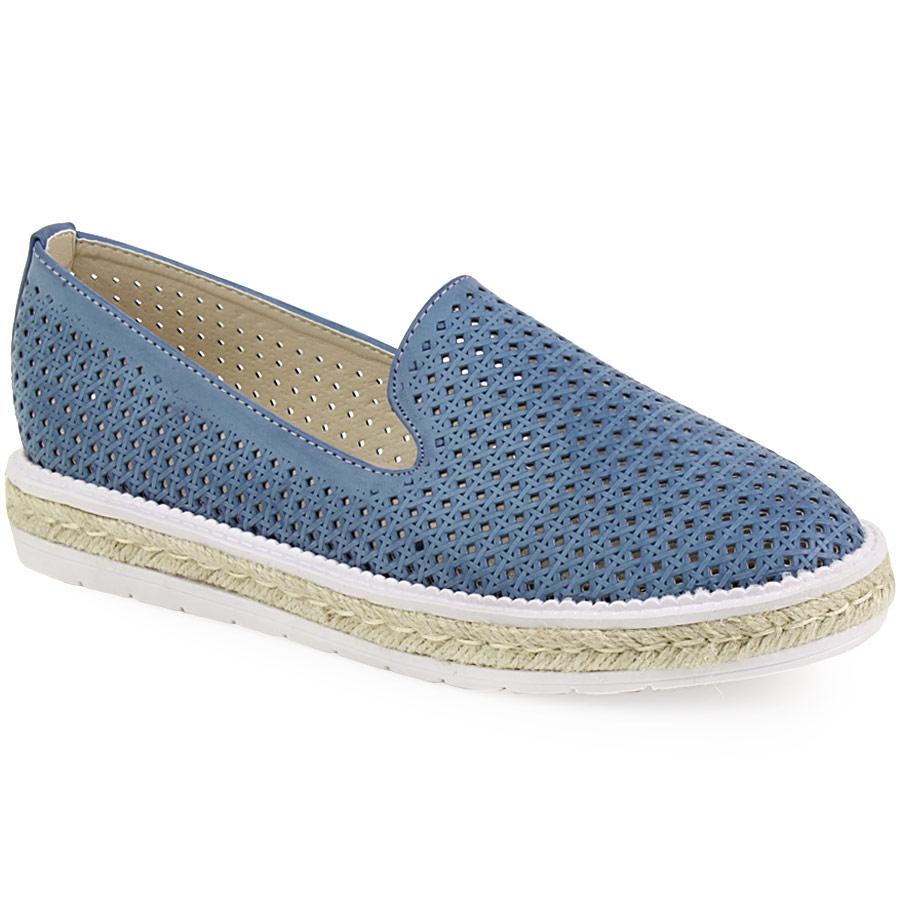 Γυναικεία loafers με περφορέ σχέδιο και εσπαντρίγια στη σόλα Μπλε