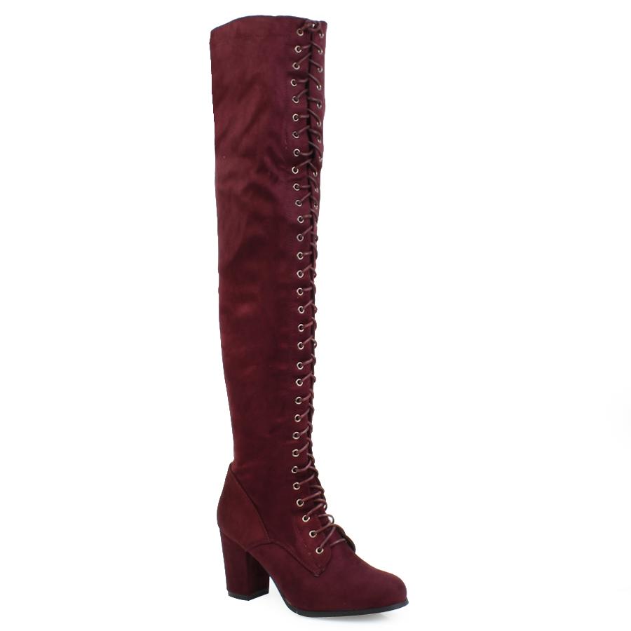 85bf38c1447 -50% Inshoes Γυναικείες μπότες με χοντρό τακούνι και κορδόνια Μπορντώ