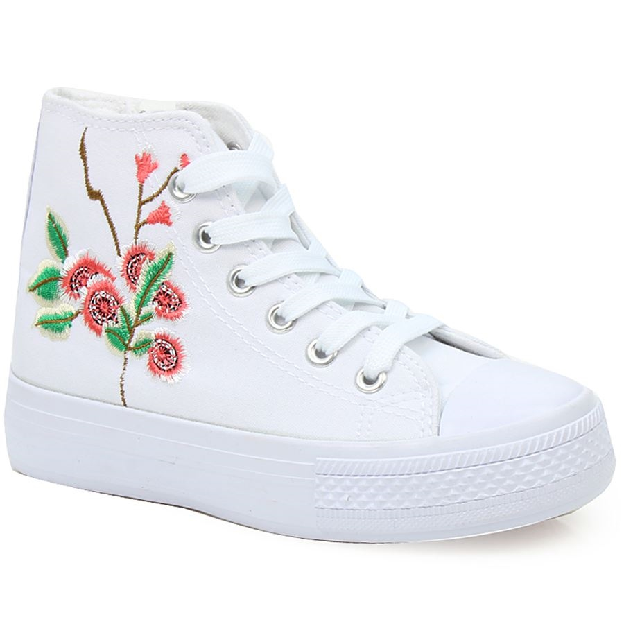 Παιδικά αθλητικά με κεντητό λουλούδι Λευκό