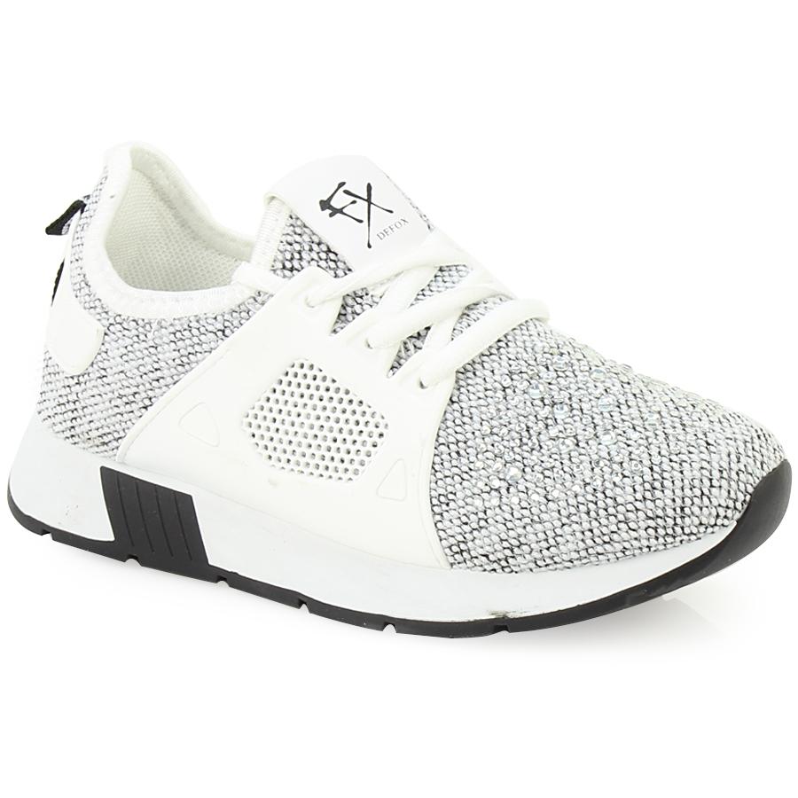 -45% Inshoes Παιδικά αθλητικά με πλεκτό ύφασμα και strass Λευκό de66c4a080d