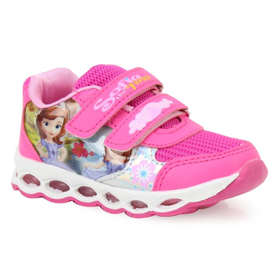 Inshoes Παιδικά αθλητικά με print Sofia με φωτάκια Φούξια 4974745bb8f