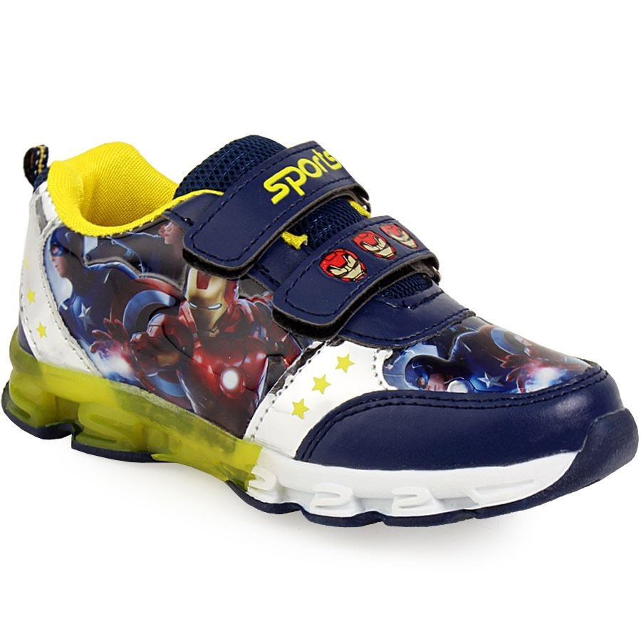 release date: 7c890 144b7 Παιδικά αθλητικά με print Avengers με φωτάκια Navy - Roe Shoes Collection