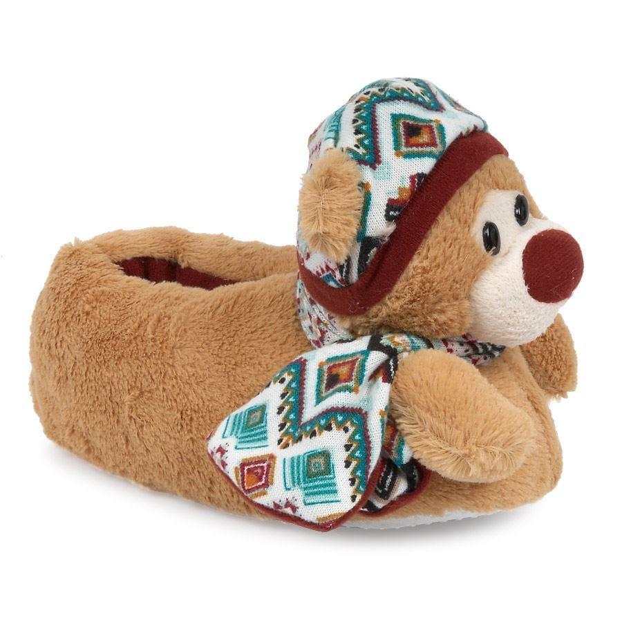 Παιδικές παντόφλες με γουνάκι και αρκουδάκι Μπεζ