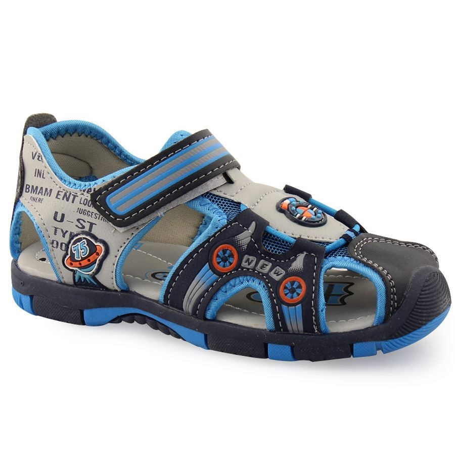 Inshoes Παιδικά πέδιλα ημίκλειστα με αυτοκόλλητο με ρίγες Μπλε 8d74d40f55e