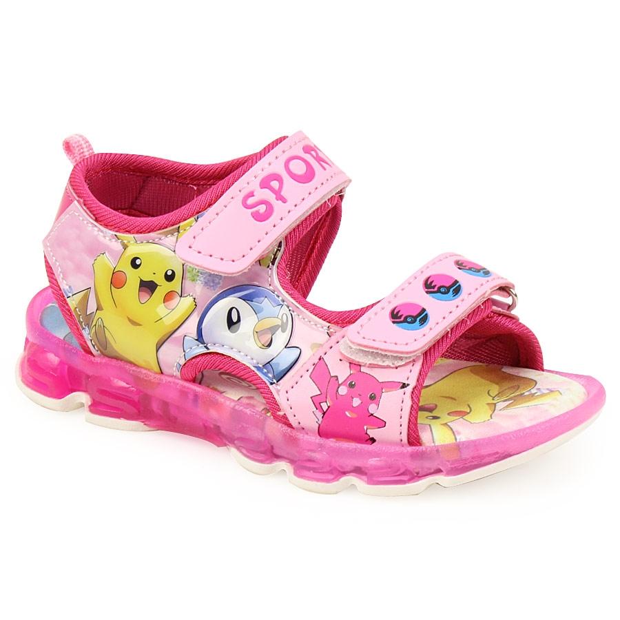 73a45bf3733 Inshoes Παιδικά πέδιλα με φωτάκια και print Pokemon Ροζ