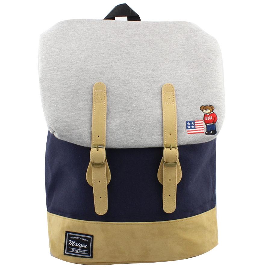 Ανδρικά σακίδια πλάτης με κάθετα λουριά και λογότυπο Μπλε