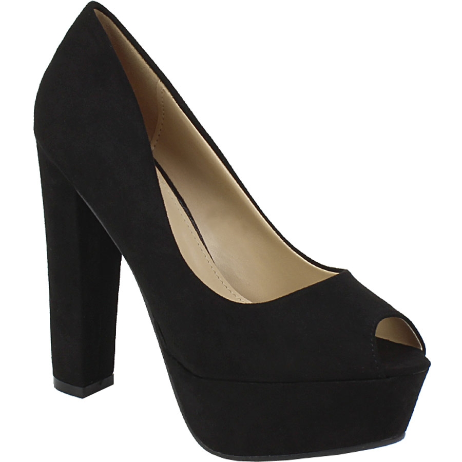 Γυναικείες γόβες peep toe με φιάπα Μαύρο γυναικα   παπούτσια   γοβεσ