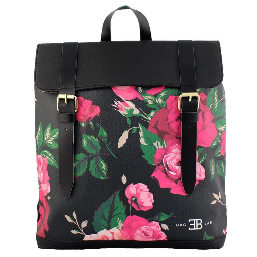 Σακίδια πλάτης με print τριαντάφυλλα Μαύρο