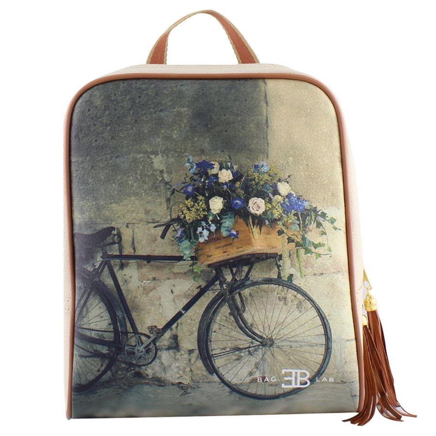 Γυναικεία σακίδια πλάτης με ποδήλατο με λουλούδια Μπεζ