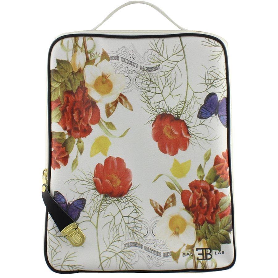 Γυναικεία σακίδια πλάτης με print λουλούδια και πεταλούδες Πάγου