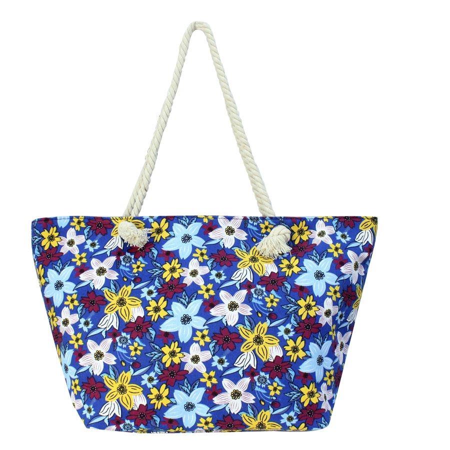 Τσάντες θαλάσσης με πολύχρωμα λουλούδια Μπλε
