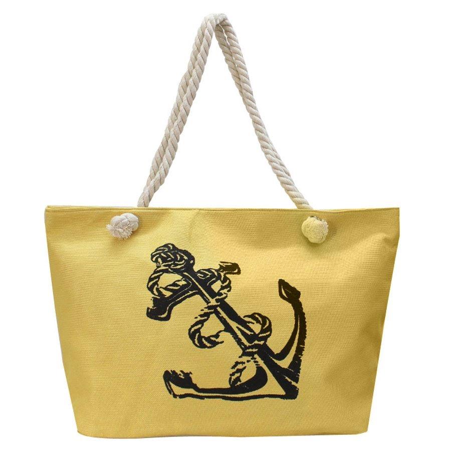 Γυναικείες τσάντες θαλάσσης με άγκυρα Κίτρινο