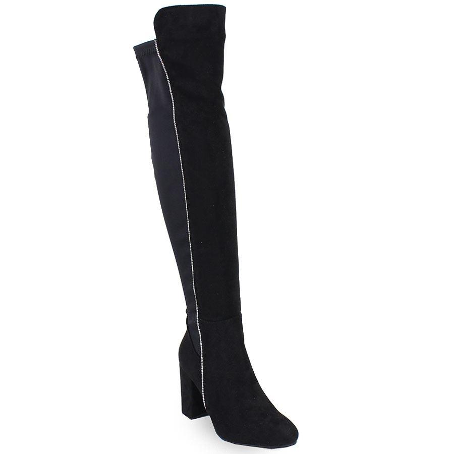 Γυναικείες μπότες με καρέ τακούνι και strass Μαύρο