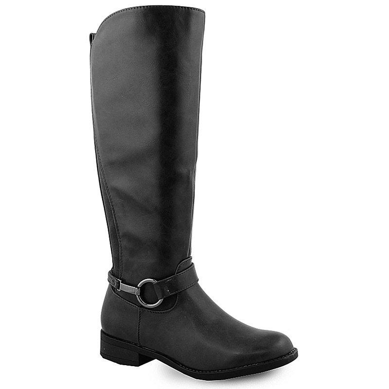 Γυναικείες μπότες με στρογγυλό μεταλλικό διακοσμητικό Μαύρο