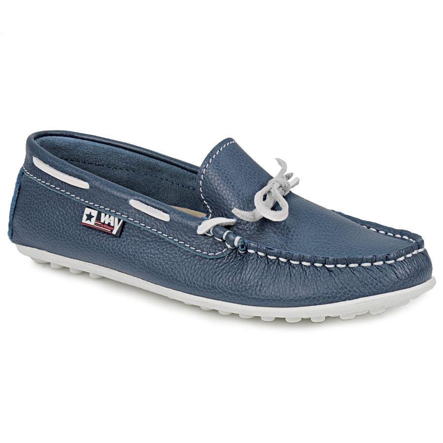 Δερμάτινα loafer με κορδόνι Μπλε