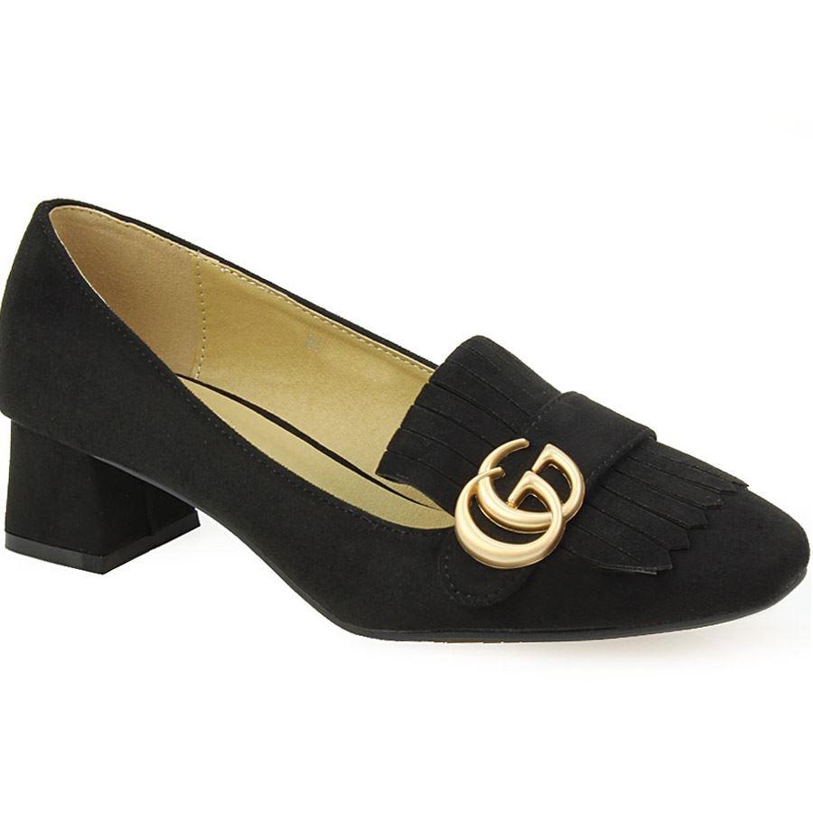 Γυναικεία loafers με διακοσμητικά κρόσσια Μαύρο