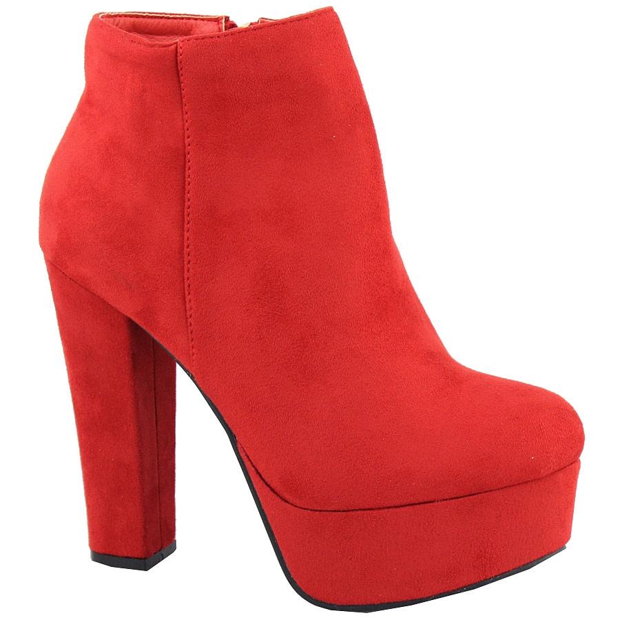 Γυναικεία μποτάκια ψηλοτάκουνα Κόκκινο