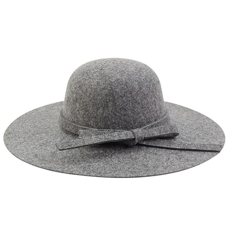 Καπέλα από τσόχα με φιόγκο Γκρι