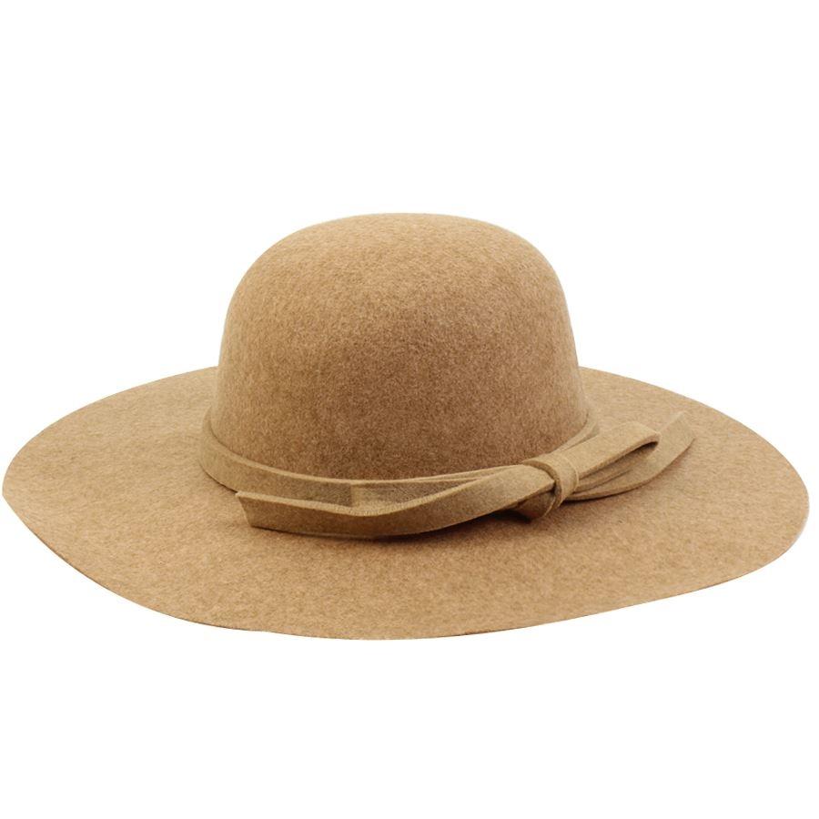 Καπέλα από τσόχα με φιόγκο Κάμελ