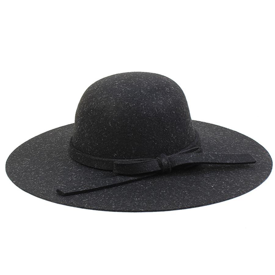 Καπέλα από τσόχα με φιόγκο Μαύρο