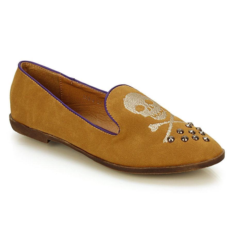 Μπαλαρίνες slipper με νεκροκεφαλή Κάμελ