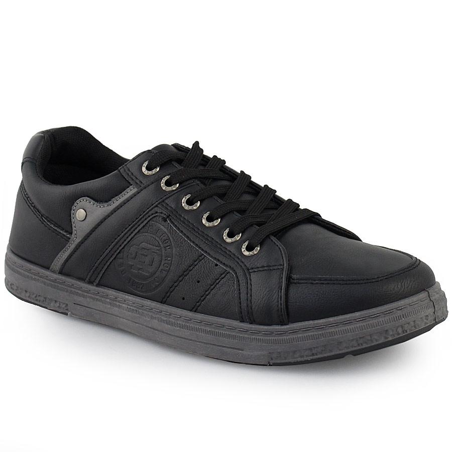 Inshoes Ανδρικά sneakers με ανάγλυφο σχέδιο και μεταλλικό διακοσμητικό Μαύρο 5c5809732af