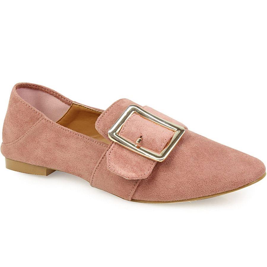 Γυναικεία loafers με μεγάλο τοκά Ροζ
