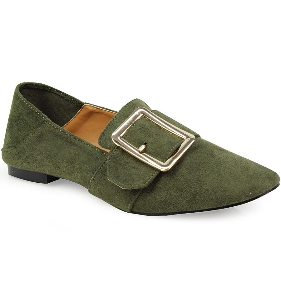 Γυναικεία loafers με μεγάλο τοκά Χακί