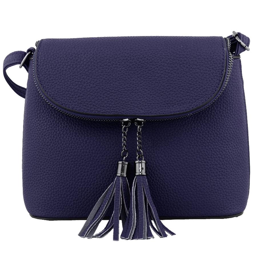 09a22f9eba Δερμάτινη Τσάντα · Τσάντες ώμου με διπλά φερμουάρ με διακοσμητικά κροσσάκια  Μπλε