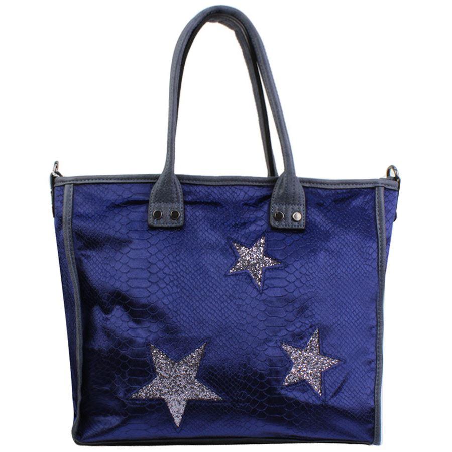 Τσάντες ώμου με κροκό σχέδιο και αστεράκια Μπλε