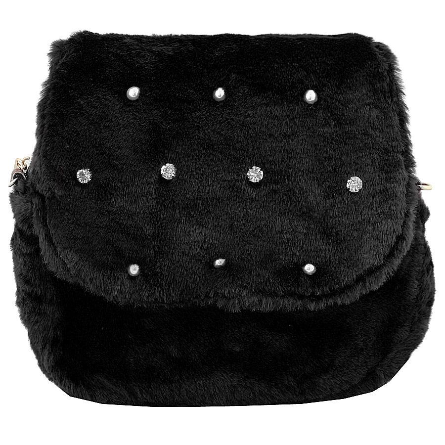 Τσάντες ώμου με διακοσμητικές πέρλες και strass Μαύρο