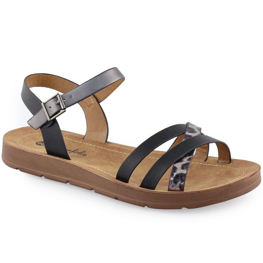 01147ab92c Γυναικεία σανδάλια με λεοπάρ λουράκι Μαύρο ⋆ EliteShoes.gr