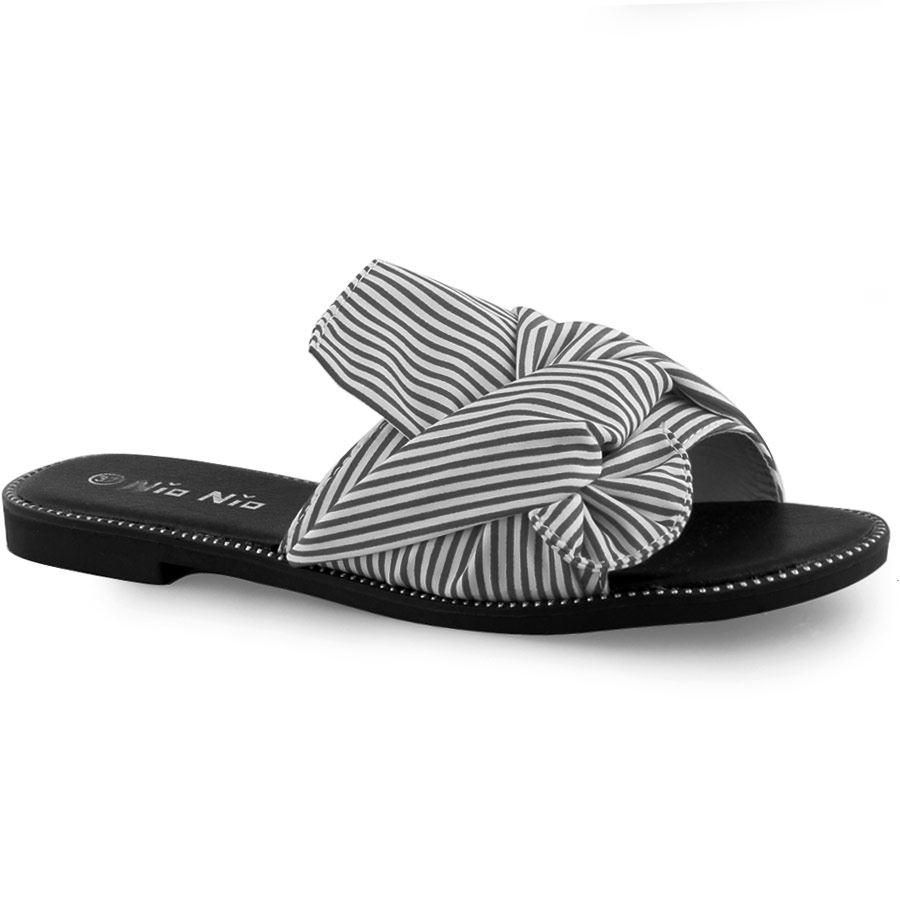 -45% Inshoes Γυναικεία σανδάλια με ριγιέ ύφασμα Μαύρο a45b920e70f