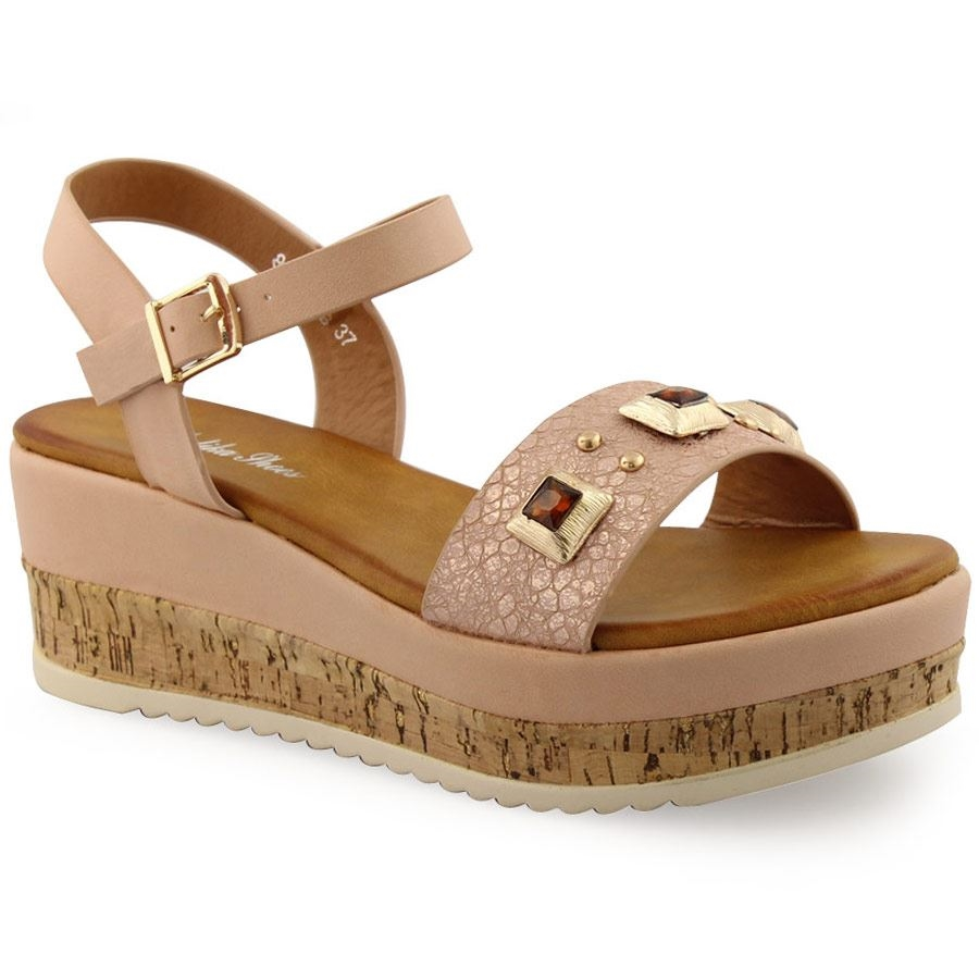 9056f94ff33 -28% Inshoes Γυναικείες πλατφόρμες με διακοσμητικές πέτρες Μπεζ