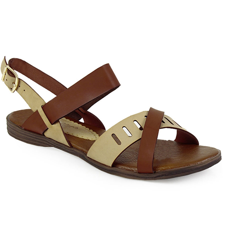 -60% Inshoes Γυναικεία σανδάλια με διακοσμητικό περφορέ Μπεζ a9face8daa6