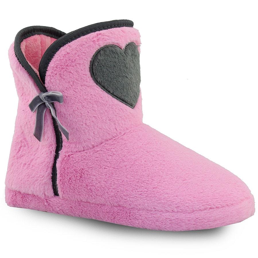 Γυναικείες παντόφλες μποτάκια με διακοσμητική καρδιά Ροζ