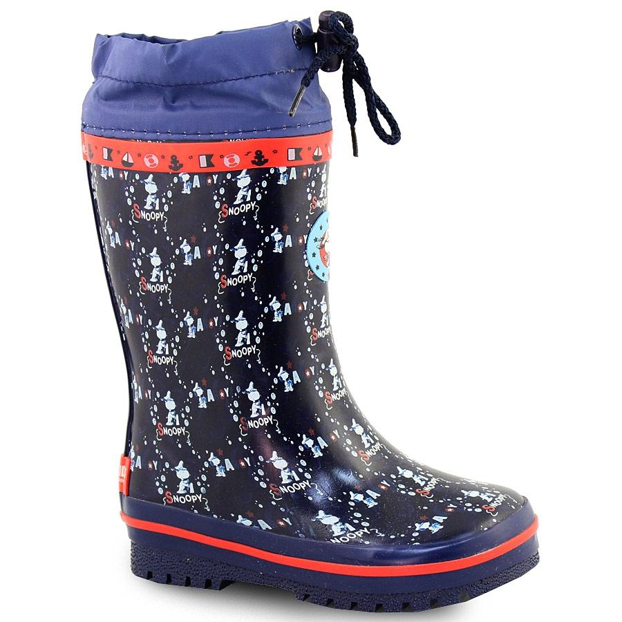 55b9b39fae1 -33% Inshoes Γαλότσες παιδικές ριγέ με print Snoopy Μπλε