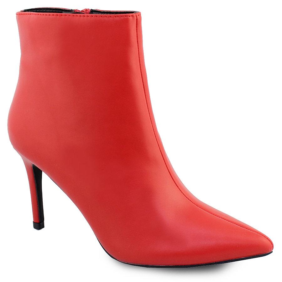 Γυναικεία μποτάκια σε μυτερή φόρμα Κόκκινο