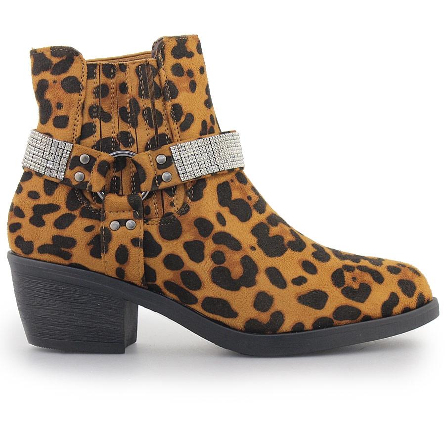 Inshoes Γυναικεία μποτάκια με διακοσμητικά λουράκια με strass Λεοπάρ  14747 82 9199171ac7c