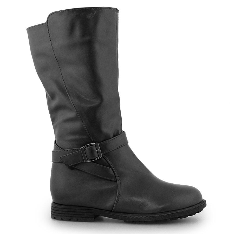 Παιδικές μπότες με διακοσμητικό λουράκι Μαύρο