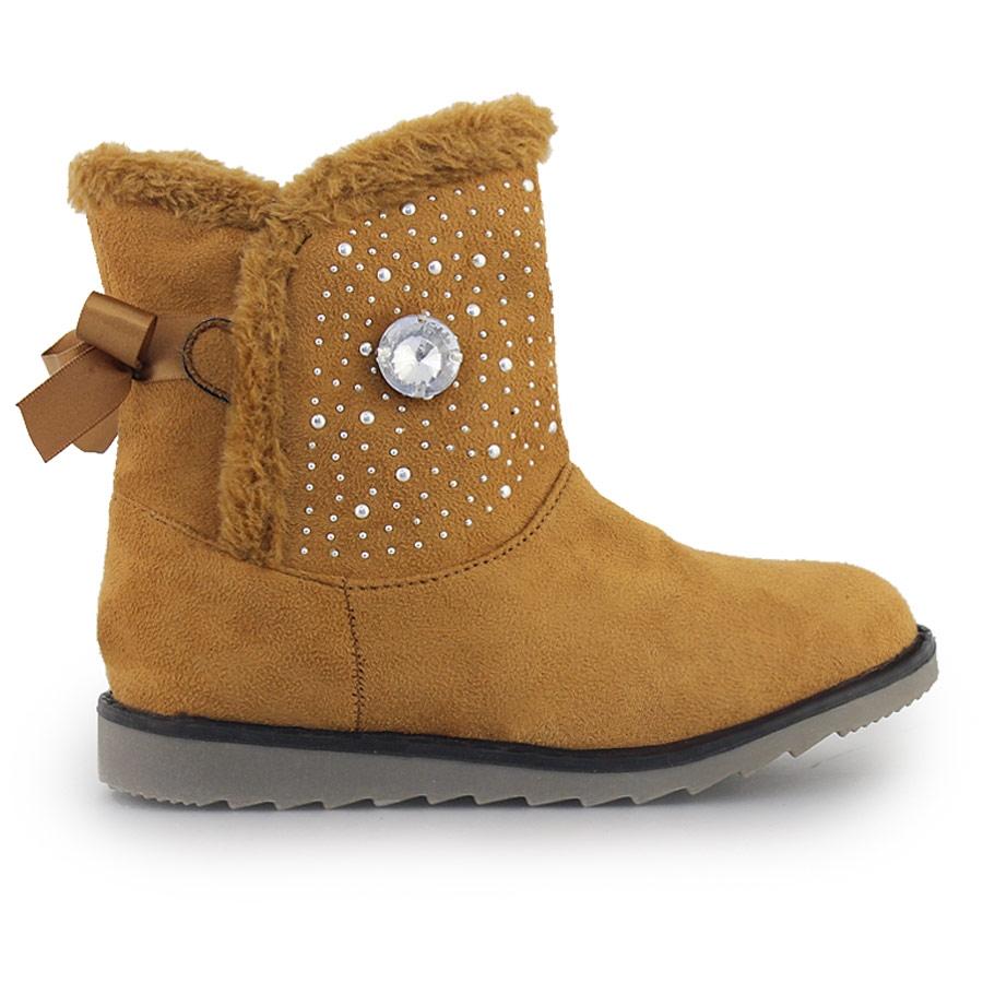 -50% Inshoes Παιδικά μποτάκια με διακοσμητικά strass και γουνάκι Ταμπά 6264db5b10b