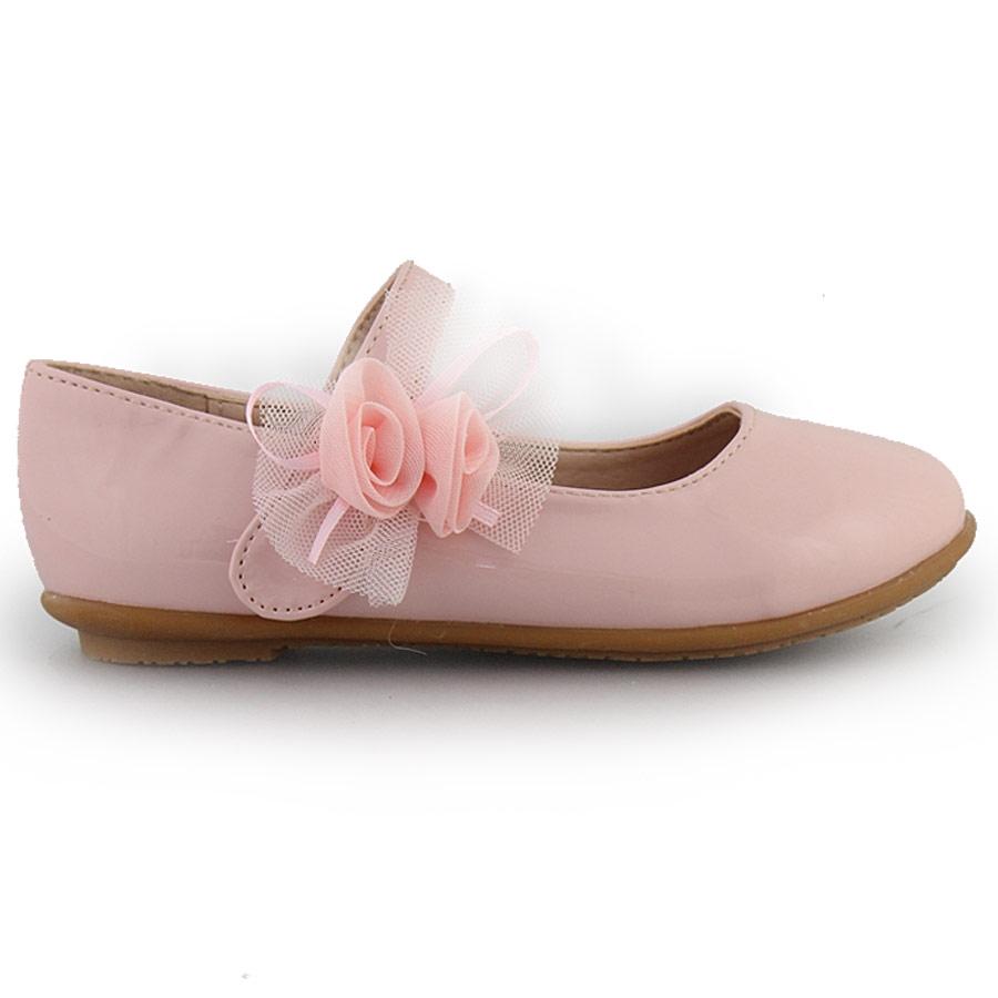 Παιδικές μπαλαρίνες λουστρίνι με λουλουδάκι Ροζ ⋆ EliteShoes.gr 8bdf3a89aca