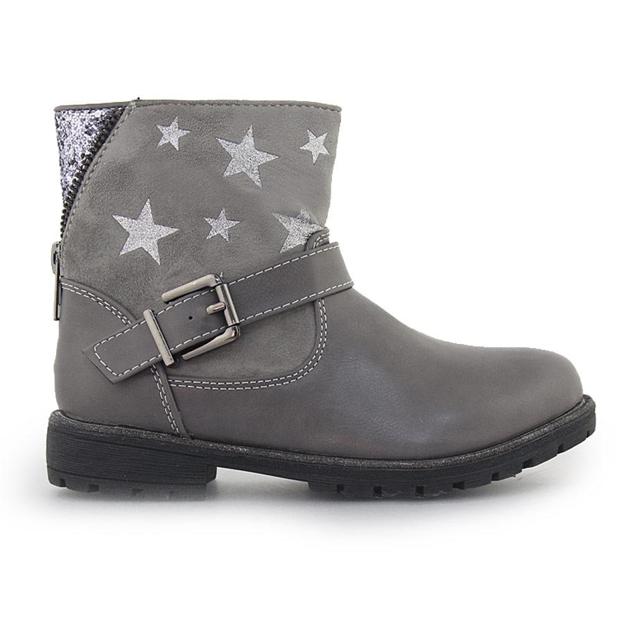 f147c1b90335 Παιδικά μποτάκια με διακοσμητικά αστέρια και glitter Γκρι