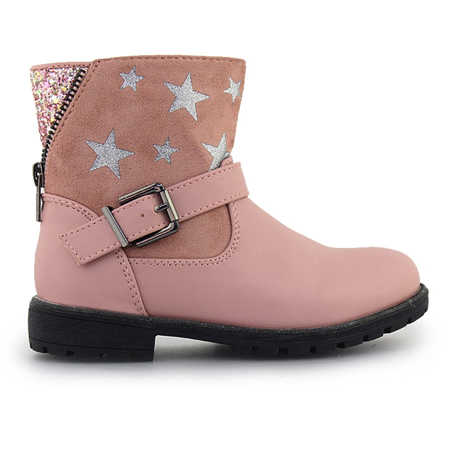 Παιδικά μποτάκια με διακοσμητικά αστέρια και glitter Ροζ