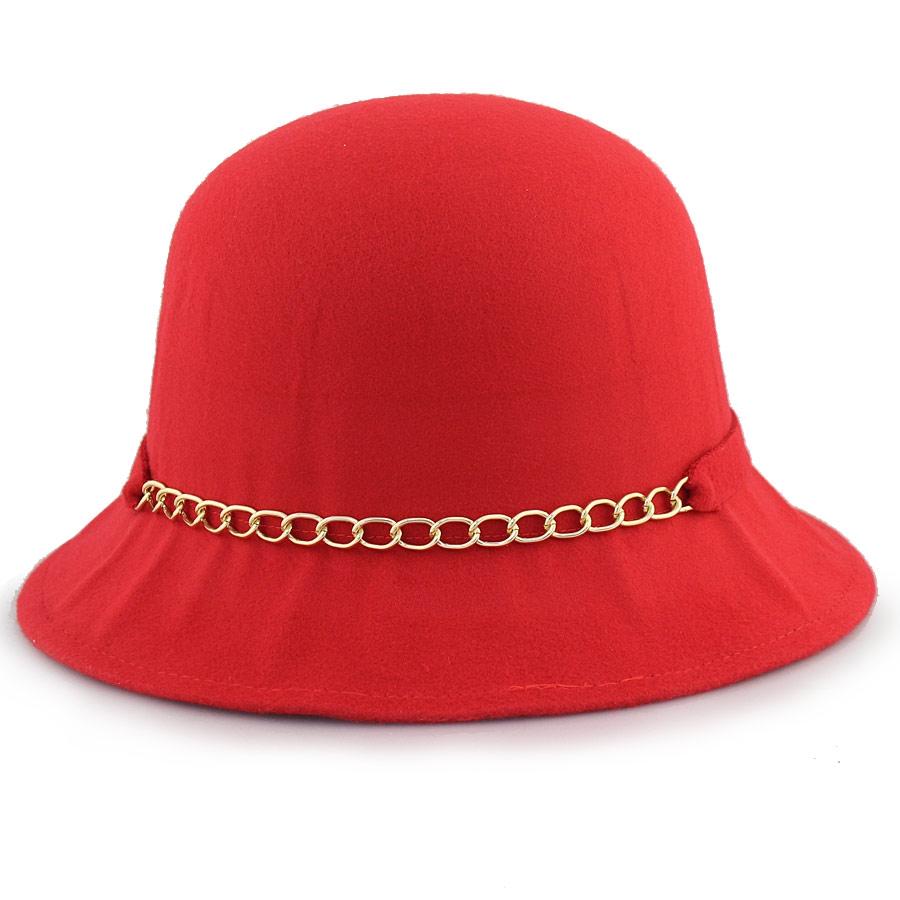 Γυναικεία καπέλα με αλυσίδα και φιόγκο Κόκκινο