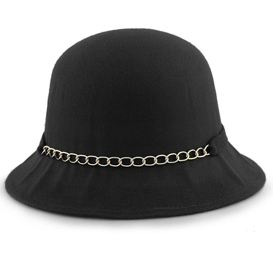 Γυναικεία καπέλα με αλυσίδα και φιόγκο Μαύρο